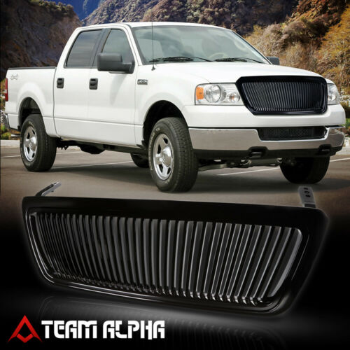 Fits 2004-2008 Ford F-150//Mark LT Glossy Black ABS Vertical Billet Grille//Grill
