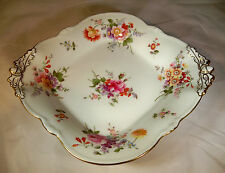 "ROYAL CROWN DERBY POSIES 9-1/4"" DIAMETER 4-TOED HANDLED BASKET SWEETMEAT BOWL!"