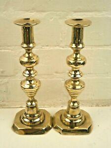 Pair-of-Antique-Georgian-10-034-25-cm-Brass-Candlesticks
