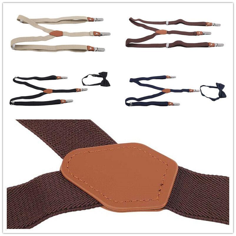 Clips-on Y-back Shape Suspender Bowtie Sets Men Gifts Belt Adjustable 3 Clips T