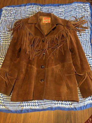 VINTAGE 70's Suede/Leather FRINGE Jacket HIPPIE/Fe