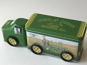 John-Deere-3pc-Tin-Truck-On-Wheels-Moline-IL-Large-10-034-L-Toy-Candy-Box