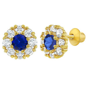979383421 18k Gold Plated Blue Clear Crystal Round Flower Girls Baby Screw ...