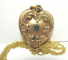 ANTIQUE GOLD FILLED SEED PEARL HEART PUFF CHARM ON CHAIN NECKLACE 3.8 GRAMS