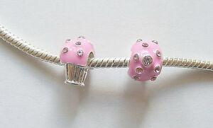 2-Silver-Plated-Enamel-Pink-Cupcake-Charm-Beads-for-Charm-Bracelets