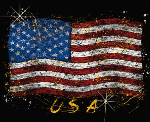 Distressed USA Flag Tattoo T-Shirt PLUS SIZE or SUPERSIZE T324F Rhinestone