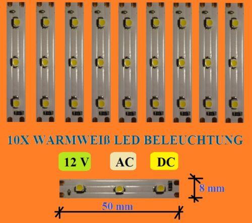 8mmX50mm 10 X Warm-weiß LED Waggon- Haus Beleuchtung - E261