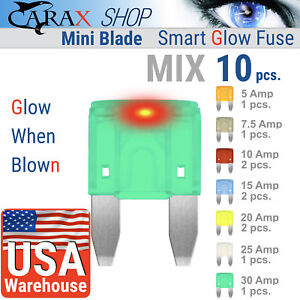 Fuses-MINI-blade-smart-fuse-ATM-ATC-ATO-CAR-LED-Smart-GLOW-WHEN-BLOWN-MIX-10-kit