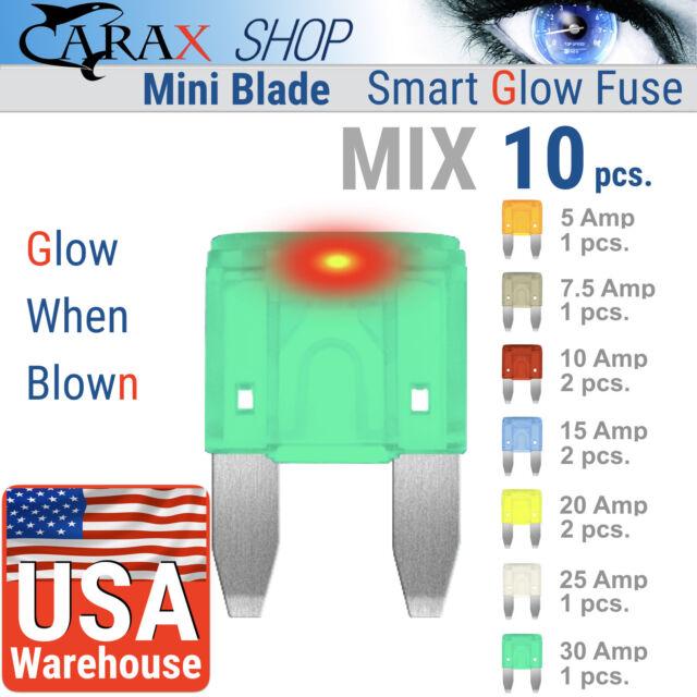 Fuses MINI blade smart fuse ATC ATM ATO CAR LED Smart GLOW WHEN BLOWN MIX 10 kit