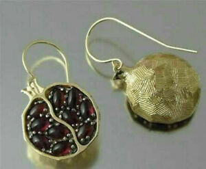 Details About Women Gold Filled Pomegranate Ruby Vintage Earring Dangle Hook Jewelry Party
