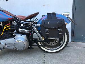 INDIAN-BLACK-koffer-Set-Leder-schwarz-Gepacktaschen-Motorrad-Rocker-Biker-Moped