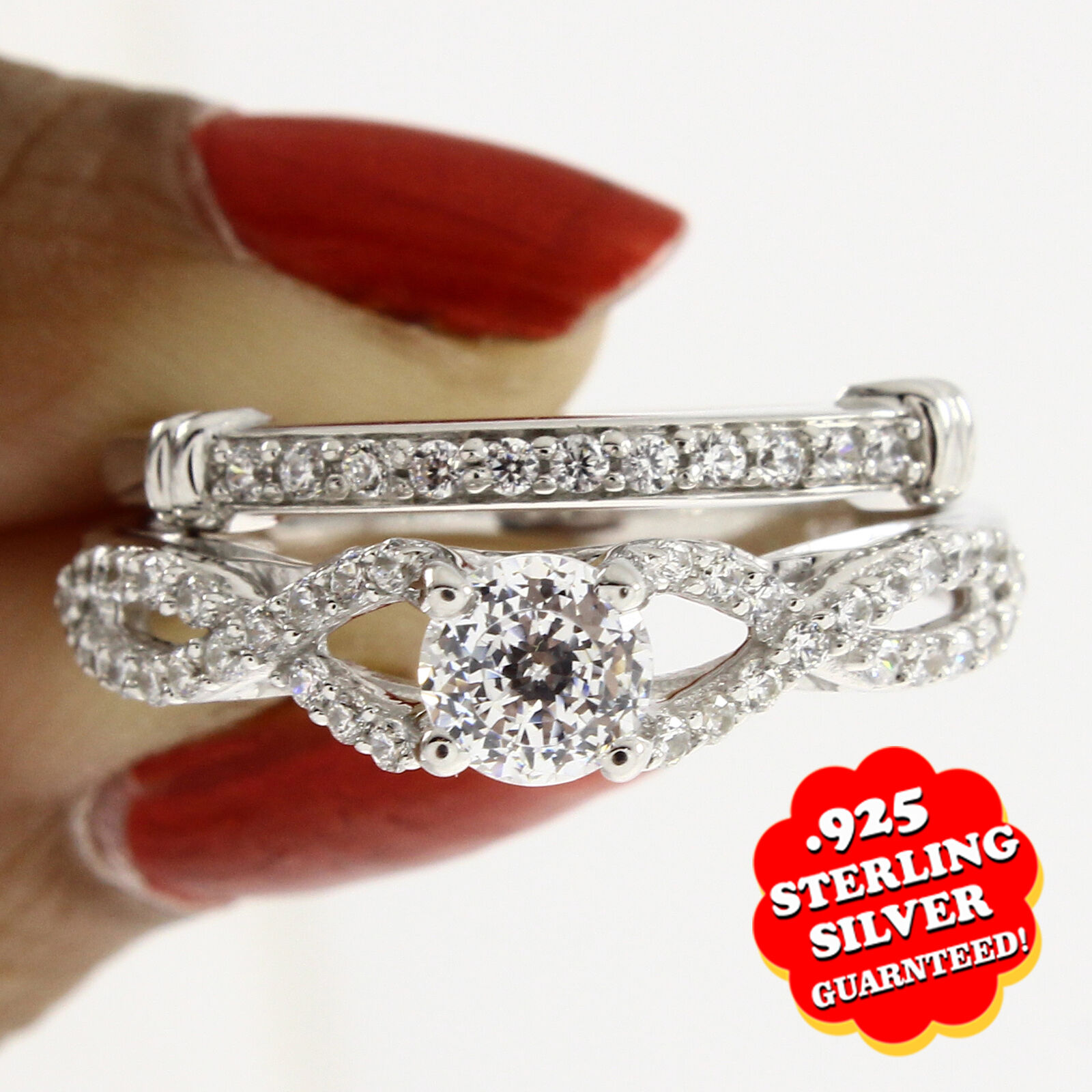 0.89 Ct D VVS1 14K White gold Over Infinity Solitaire Bridal Engagement Ring