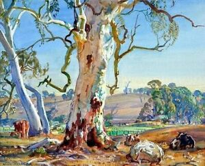 "Canvas Prints Hans Heysen - Painting - ""Under the Gum""  Framed & Ready to Hang"