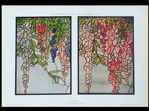 VITRAUX-ART-NOUVEAU-GLYCINE-1910-PHOTOLITHOGRAPHIE-BELTRAMI
