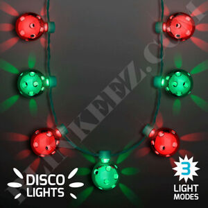 CHRISTMAS-RED-GREEN-Disco-Lights-Party-LED-Necklace-FUN