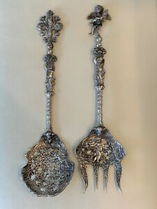 Vintage Italian Coppini 800 Silver Cherubs Angels Serving Spoon and Fork