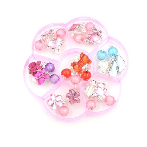 Box Schöne Ohrringe Clip-On No Pierced Anhänger Design für Kinder KidSP 7Pairs