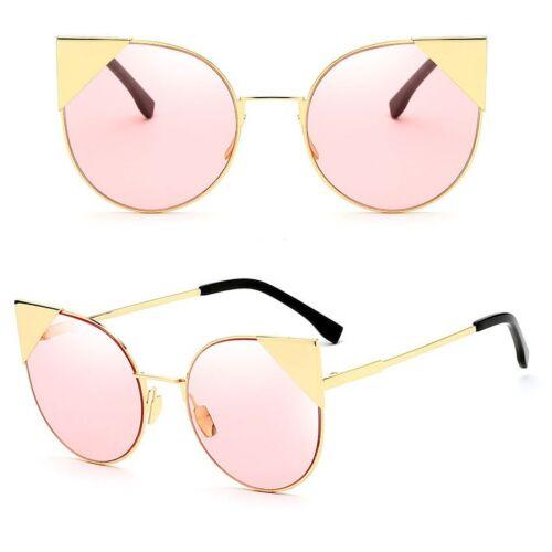 Vintage Cat Eye Designer Cadre en Métal Grand Plat Lentilles Femmes Mode Lunettes de soleil