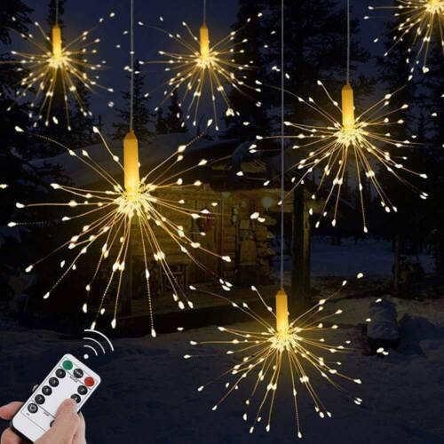 Hanging Firework LED Fairy String Light Christmas Party Decor 8 Modes Remote