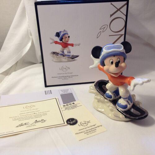 Lenox Disney Christmas MICKEY SNOWBOARDING ADVENTURE Figurine BRAND NEW