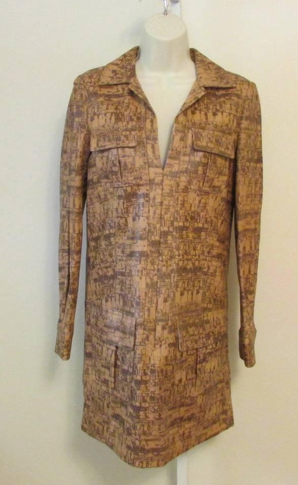 Diane Von Furstenberg Dilly simple  vestido de cuero de corcho 0 Cambio Nuevo Marrón Bronceado DVF  moda clasica
