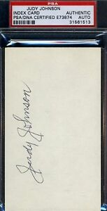 Judy Johnson Signed Psa/dna Certified 3x5 Index Card Authentic Autograph