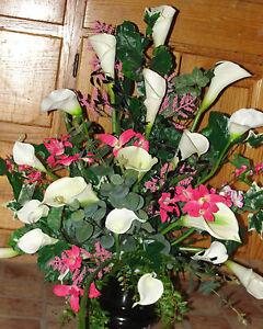 Events-Silk-Pew-Flower-Arrangement-Church-Altar-Wedding-Vases-Receptions-Banquet