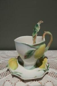 Stunning-Rare-Franz-Cup-amp-Saucer-With-Spoon-Lemons-Collectable-Vgc