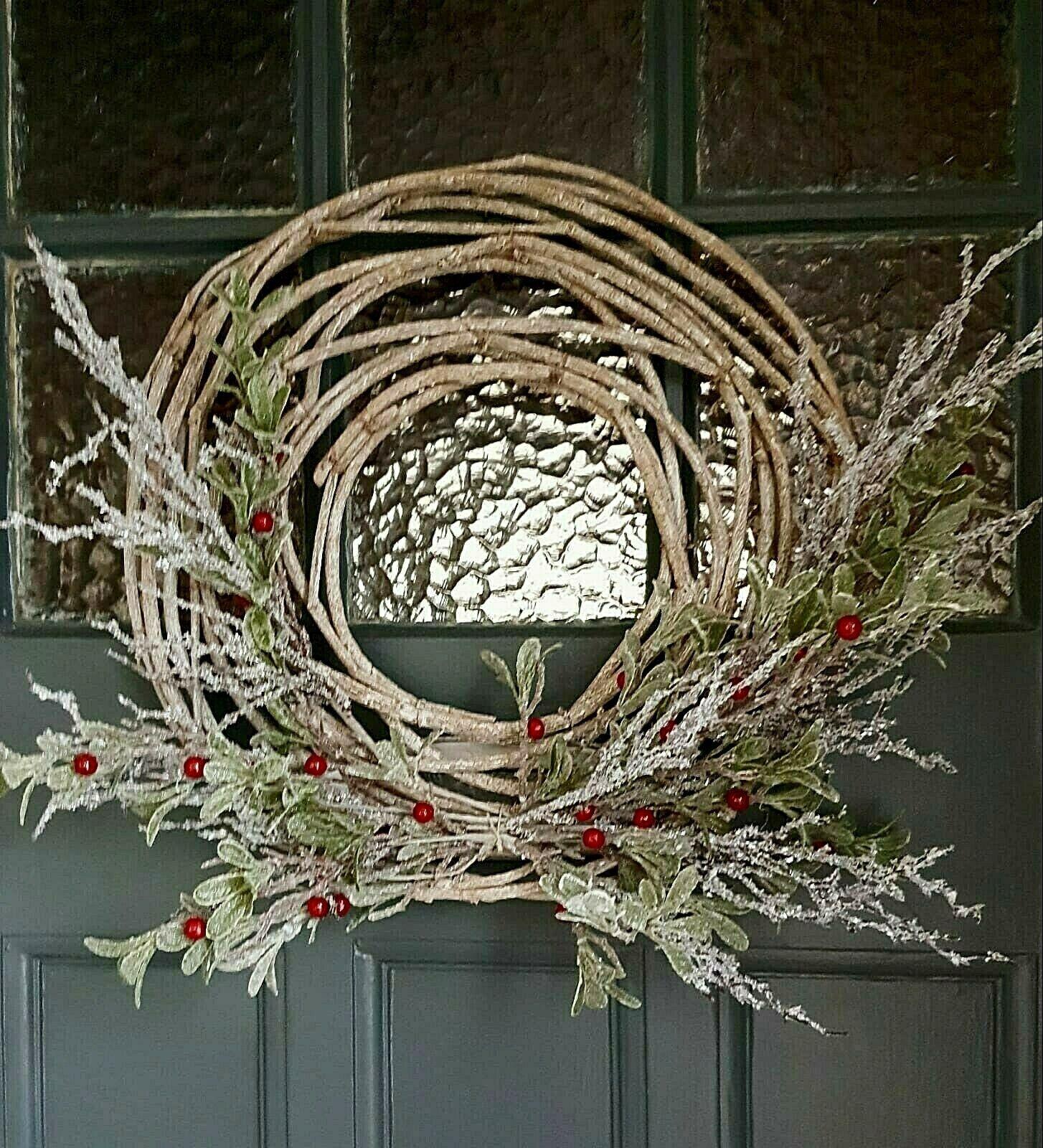 Green Frosted Glitter Eucalyptus Christmas Wreath For Sale Ebay
