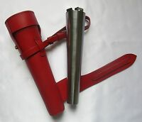 Red Saddle Hip Flask Stainless Steel Leather Case Hunting Hacking Or Horse Gift