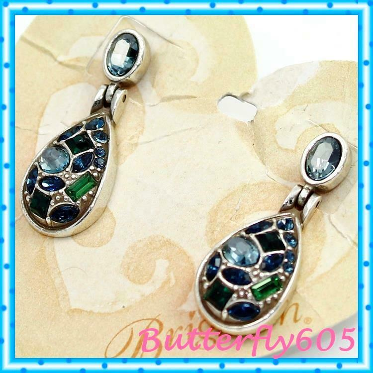 Brighton B You Post Green bluee Crystal Earrings NWT  58 JE9905