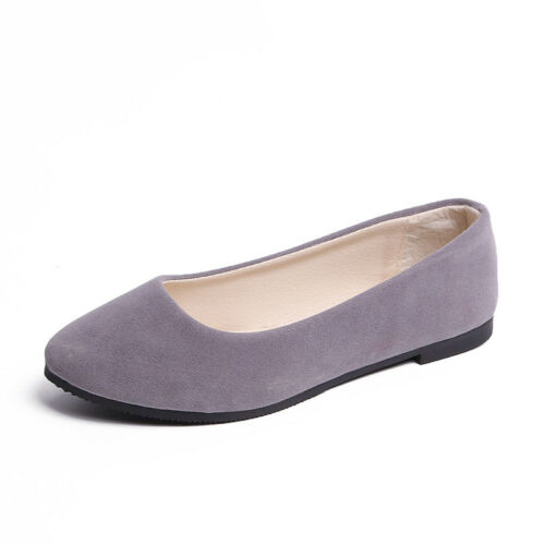 Ladies Ballerina Ballet Dolly Pumps Loafers Flat Soft Suede Slip On Shoes Size
