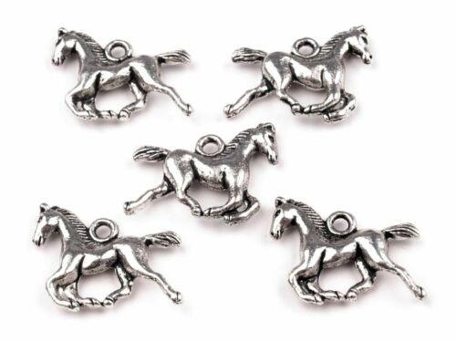 5 ANHÄNGER Metall Pferd 15x18 mm