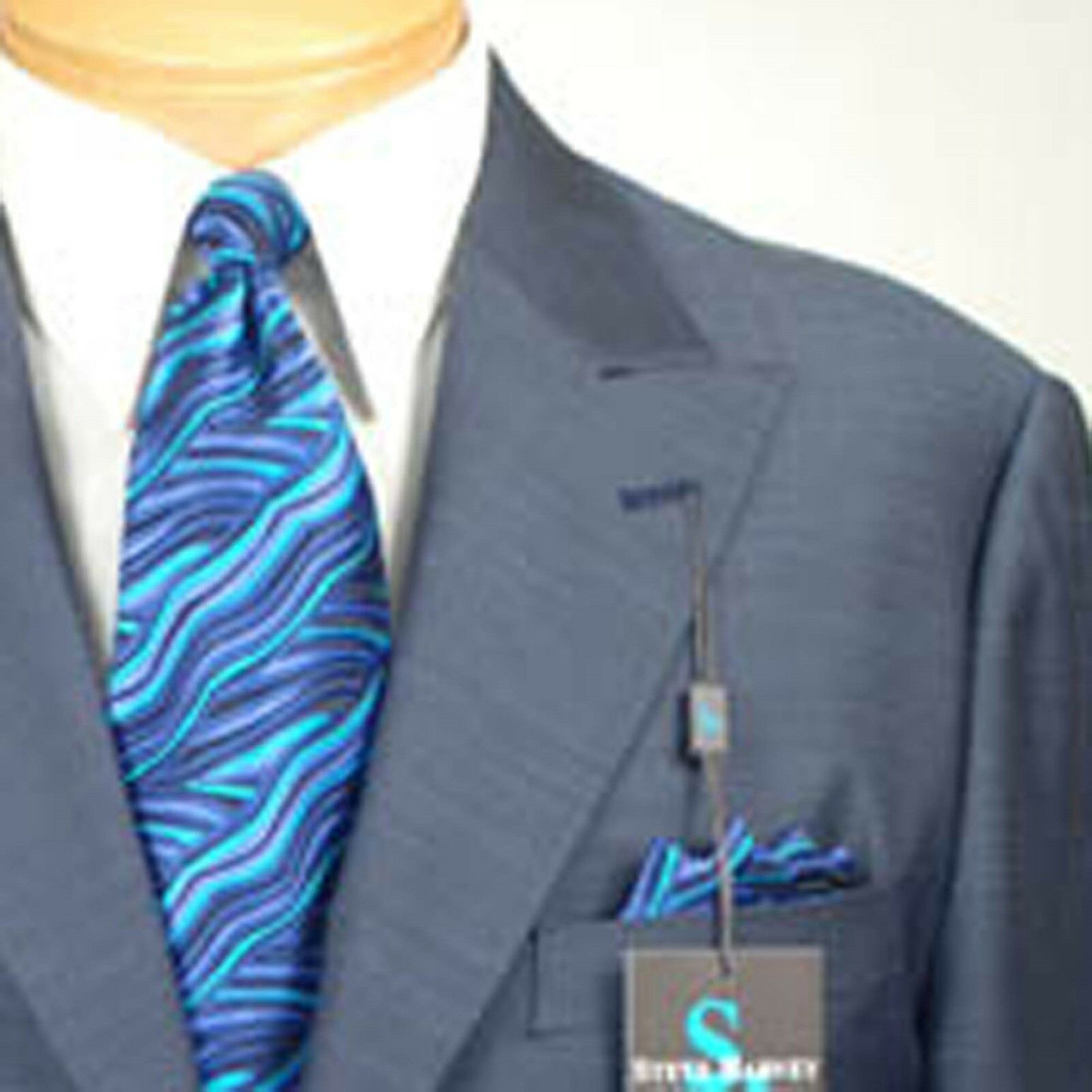 44S STEVE HARVEY Slate Blau - 44 Short  Herren Suits - SH10