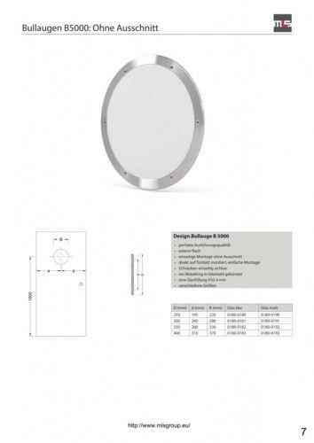 MLS Bullauge B5000 Rundfenster Edelstahl gebürstet Ø 40 cm Glas matt 0180-0193