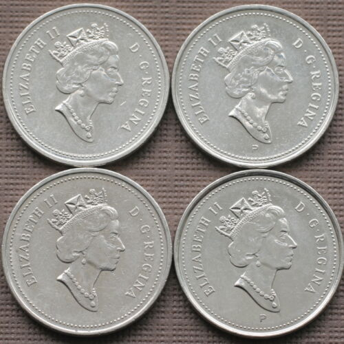 CANADA 2000 2000P 2001 2001P SET OF 5 CENTS 4 COINS CIRCULATED