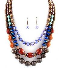 Three Layers Multi Blue Brown Glass Wood And Lucite Bead Necklace Earring Set