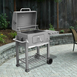 Deluxe Charcoal Grill Station Outdoor Thermometer BBQ Grate Side Table w/ Hook