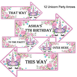 10-x-Personalised-Unicorn-Party-Arrows-1st-2nd-5th-7th-any-age-Named-Arrow-Sign