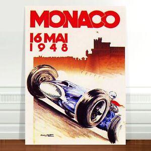 "Vintage Auto Racing Poster Art ~ CANVAS PRINT 8x10"" Monaco 1948"