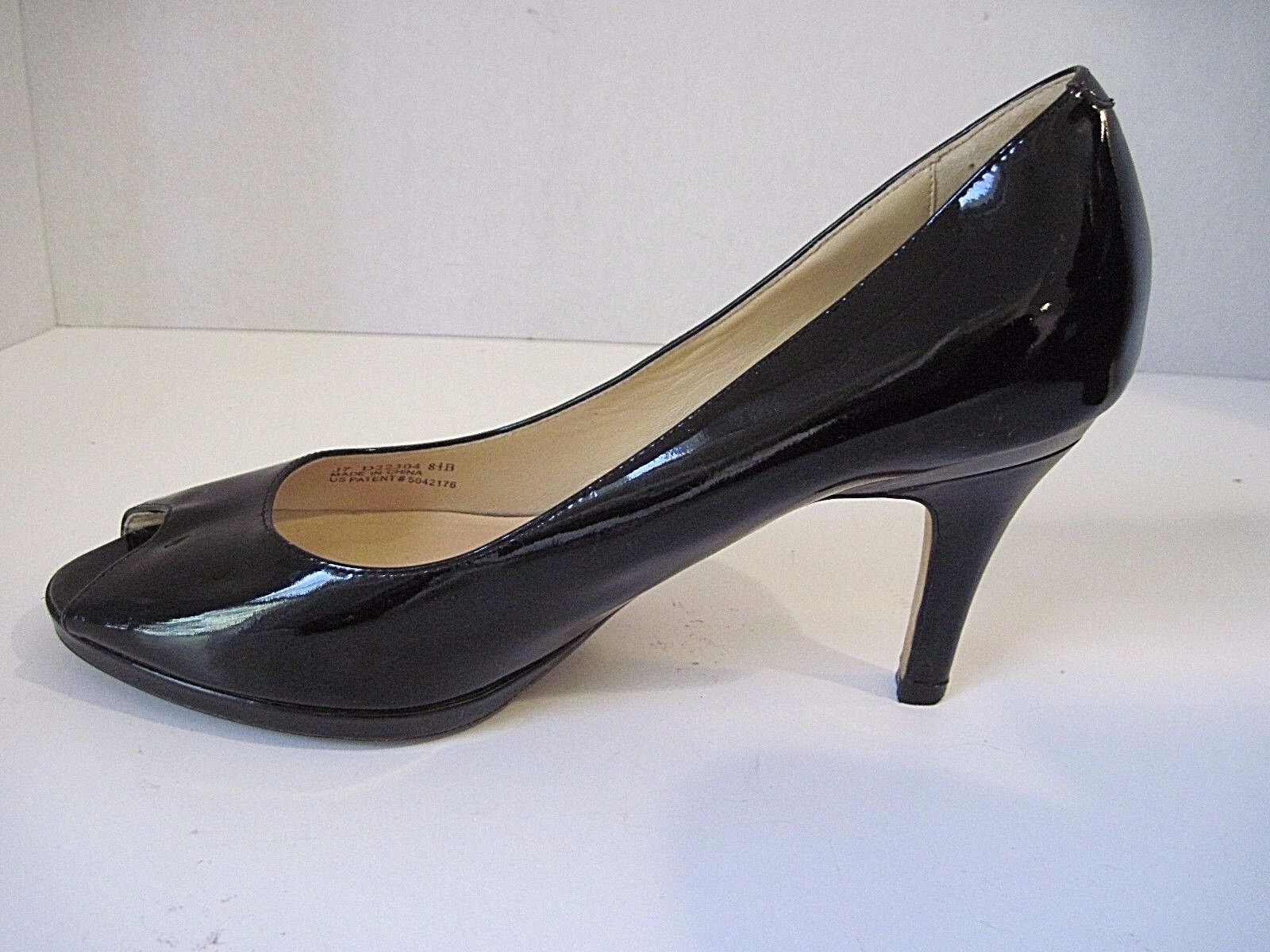 Cole Haan Collection Nike Air Black Patent Leather Open Toe Heels - Size 8 1 2B