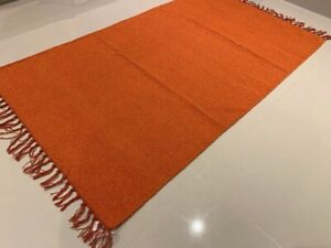 Eco-Friendly-Rust-Orange-Recycled-Cotton-Rich-Kilim-Washable-Reversible-Area-Rug