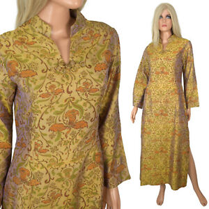 d84ae3184 Image is loading Vintage-Asian-Cheongsam-Dress-Gold-Floral-Silk-Long-