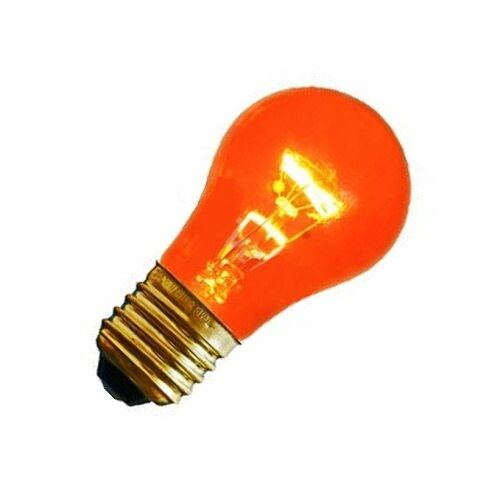 PACK OF 25 SIVAL 15W 130V A15 E27 BASE TRANSPARENT AMBER INCAND APPLIANCE BULB