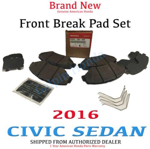 2016 HONDA CIVIC 4-DOOR SEDAN OEM FRONT BRAKE PAD SET  45022-TBA-A00