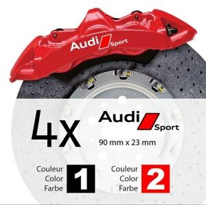4-Pegatinas-sticker-aufkleber-decal-brake-caliper-Audi-pinzas-freno-9-cm