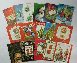 16-Vintage-Christmas-Card-Lot-Gold-Embossed-Santa-Victorian-Tree-Wreath-No-Env