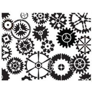 Dreamweaver Embossing Stencilling Template Clockwork Gears EBay - Dreamweaver ebay template