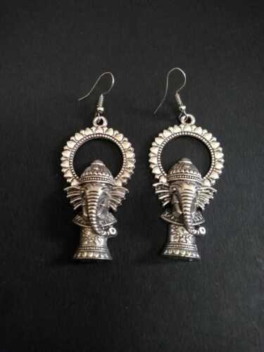 India Traditional Silver Oxidized Ganesha Design Jewelry Drop Earrings Jhumka