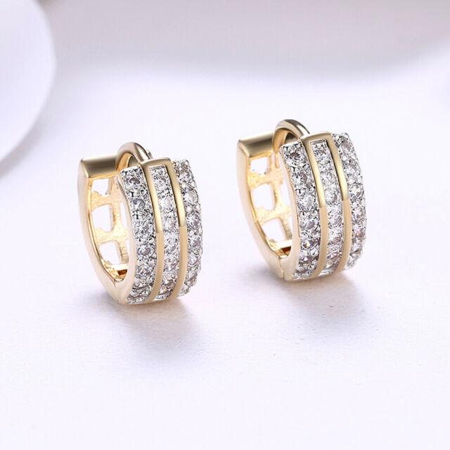 59f0258c0554e Women's Fun Hip Hop Gold + Swarovski Crystal Huggie Hoop Earrings - 1 Pair